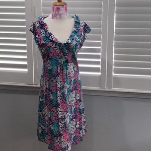 LILLY PULITZER SILK BLEND PANSIES RUFFLED DRESS